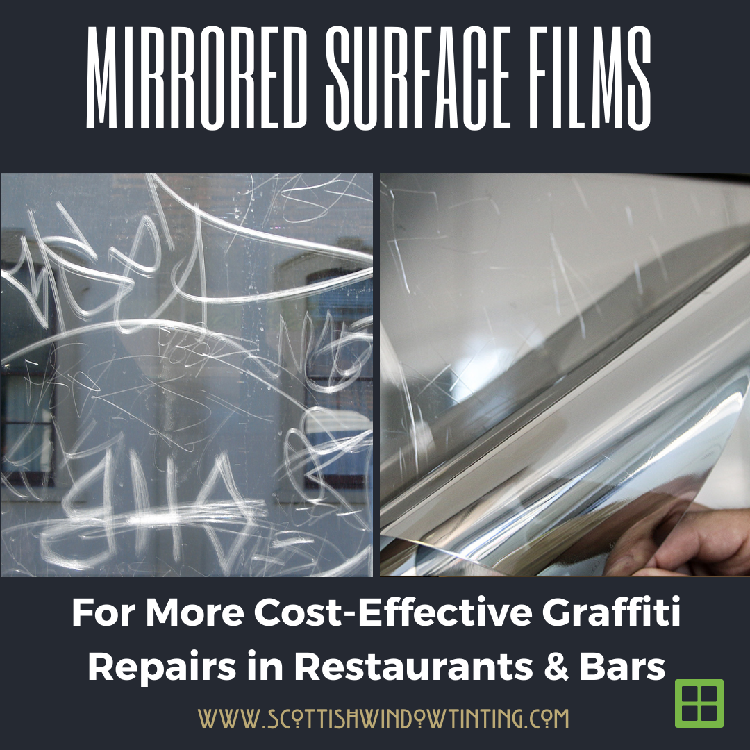 Mirrored Surface Film in Restaurants For an Inexpensive Fix to Mirror Graffiti